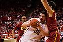 December 3, 2012:  Andre Almeida (32) of the Nebraska Cornhuskers leans against Omar Oraby (55) of the USC Trojans at the Devaney Sports Center in Lincoln, Nebraska. Nebraska defeated USC 63 to 51.