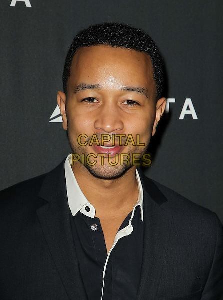 John Legend.Delta Air Lines, the Official Airline of the GRAMMY Awards,celebrate LA's music industry Held At The Getty House, Los Angeles, California, USA, .7th February 2013..portrait headshot beard facial hair white collar black shirt .CAP/ADM/KB.©Kevan Brooks/AdMedia/Capital Pictures.