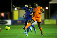 Tim Babalola of Romford and Zak Pianim of Brentwood during Romford vs Brentwood Town, Velocity Trophy Football at the Brentwood Centre on 8th October 2019