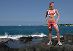 KAILUA-KONA, HI - OCTOBER 14: Caroline Steffan of Switzerland poses for a photo shoot after the 2012 IRONMAN World Championships on October 14, 2012 in Kailua-Kona, Hawaii. (Photo by Donald Miralle)