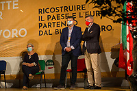 """(From L to R) Annamaria Furlan, General Secretary of CISL (Italian Confederation of Workers' Trade Union, 2.), Pierpaolo Bombardieri, General Secretary of UIL (Italian Labour Union, 3.) & Maurizio Landini, General Secretary of CGIL (Italian General Confederation of Labour, 1.).<br /> <br /> Rome, 29/07/2020. Today, the three main Italian Trade Unions: CGIL (Italian General Confederation of Labour, General Secretary Maurizio Landini, 1.), CISL (Italian Confederation of Workers' Trade Union, General Secretary Anna Maria Furlan, 2.), UIL (Italian Labour Union, General Secretary Pierpaolo Bombardieri, 3.). held a demonstration in Piazza Santi Apostoli called """"La notte per il Lavoro. Ricostruire il Paese e l'Europa partendo dal buon lavoro"""" (The night for work. Rebuilding Italy and Europe from the good work). Given the crisis caused by the pandemic Covid-19 / Coronavirus, the three General Secretaries asked the Government to block layoffs, an extension of the social safety nets until the end of the year, a tax reform and the fight against tax evasion, the private and public national contractual renewals, investments, health, safety at work, Research, culture, tangible and intangible infrastructures, stable work, digitalization, South of Italy, social security, law on non self-sufficiency, social inclusion and solution of open company crises. Moreover, to urge the government to start an urgent discussion to plan the spending strategy that is about to be launched to use the resources of the EU """"Recovery Fund"""".<br /> <br /> Footnotes & Links:<br /> 1. http://cgil.it/ & https://bit.ly/2E1Al5a (Wikipedia)<br /> 2. https://www.cisl.it /& https://bit.ly/2tj5Txa (Wikipedia)<br /> 3. http://www.uil.it/ & https://bit.ly /2Glf88D (Wikipedia)<br /> 09.02.19 CGIL, CISL, UIL - Trade Unions National Demo in Rome #FuturoalLavoro http://bit.do/fG7GK"""