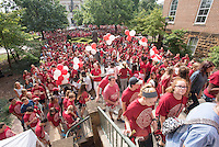 NWA Democrat-Gazette/J.T. WAMPLER University of Arkansas freshmen stream into the back doors of Old Main Sunday August 23, 2015 during a New Student Welcome event. New students arrived at the Fulbright Peace Fountain and heard from Todd Shields, dean of the Fulbright College of Arts and Sciences, before making their way through Old Main and a tunnel of student leaders, faculty and staff members welcoming them into the Razorback family. Students were then treated to a hamburger dinner and New Student Welcome Party at the Student Union.