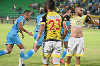 MONTERÍA- COLOMBIA, 24-02-2020:Kevin Riascos de Jaguares de Córdoba  celebra después de anotar un  gol de su equipo partido entre Jaguares de Córdoba  y Alianza Petrolera por la fecha 6 de la Liga BetPlay I 2020 jugado en el estadio Jaraguay Municipal  de la ciudad de Montería. / Kevin Riascos of Jaguares of Cordoba celebrates after scoring the goal of his team during match between Jaguares of Cordoba and Alianza Petrolera for the date 6 as part of BetPlay League I 2020 played at Jaraguay Municipal stadium in Monteria. Photo: VizzorImage / Andrés Felipe López / Cont /