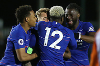 Daishawn Redan (No 12) of Chelsea hugs Luke McCormick after scoring their second goal during Chelsea Under-19 vs Montpellier HSC Under-19, UEFA Youth League Football at the Cobham Training Ground on 13th March 2019
