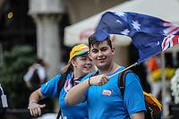 World Youth day Krakow 2016<br /> Giovane sventola bandiera australiana