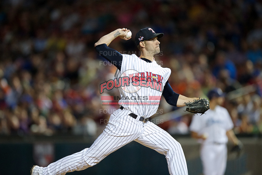 Toledo Mudhens pitcher Chris Bootcheck #46 during the Triple-A All-Star game featuring the Pacific Coast League and International League top players at Coca-Cola Field on July 11, 2012 in Buffalo, New York.  PCL defeated the IL 3-0.  (Mike Janes/Four Seam Images)