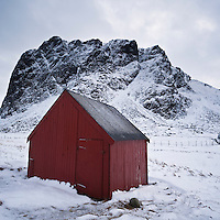Boat shed in winter, Eggum, Vestvågøy, Lofoten islands, Norway