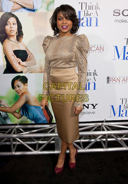 "Taraji P. Henson.""Think Like A Man"" Premiere held at ArcLight Cinemas Cinerama Dome, Hollywood, California, USA, .9th February 2012..full length snakeskin print snake top beige skirt  puff shoulder sleeve  .CAP/ADM.©Emiley Schweich/AdMedia/Capital Pictures."