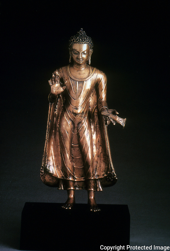 India:  Buddha Sakyamuni, late 6th century.  Bronze with color, 15 1/2 in. high. PAL, INDIAN SCULPTURE.