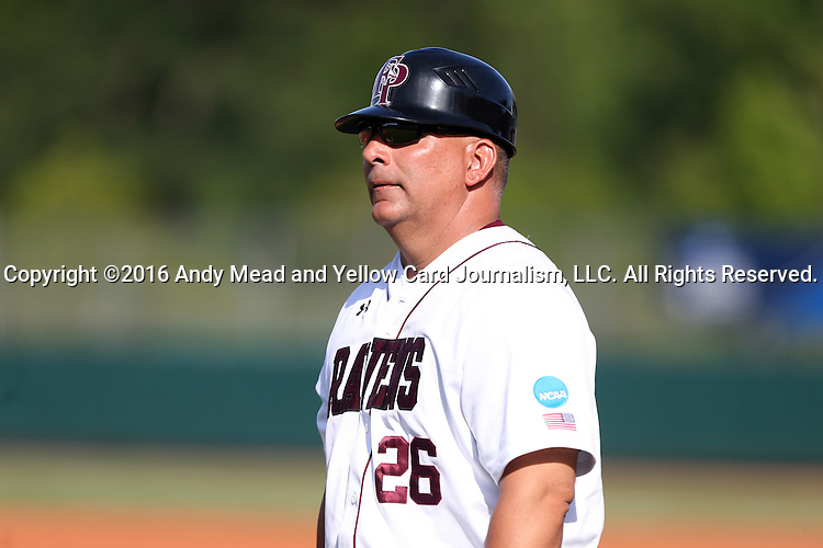 28 May 2016: Franklin Pierce head coach Jayson King. The Nova Southeastern University Sharks played the Franklin Pierce University Ravens in Game 3 of the 2016 NCAA Division II College World Series  at Coleman Field at the USA Baseball National Training Complex in Cary, North Carolina. Nova Southeastern won the game 4-3 in twelve innings.