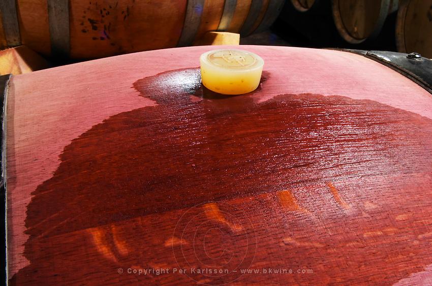 silicone bung on barrel domaine parent pommard cote de beaune burgundy france