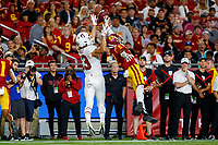 LOS ANGELES, CA - SEPTEMBER 8: USC Trojans cornerback Olaijah Griffin #2 deflects a pass intended for Stanford Cardinal wide receiver Simi Fehoko #13 during a game between USC and Stanford Football at Los Angeles Memorial Coliseum on September 7, 2019 in Los Angeles, California.