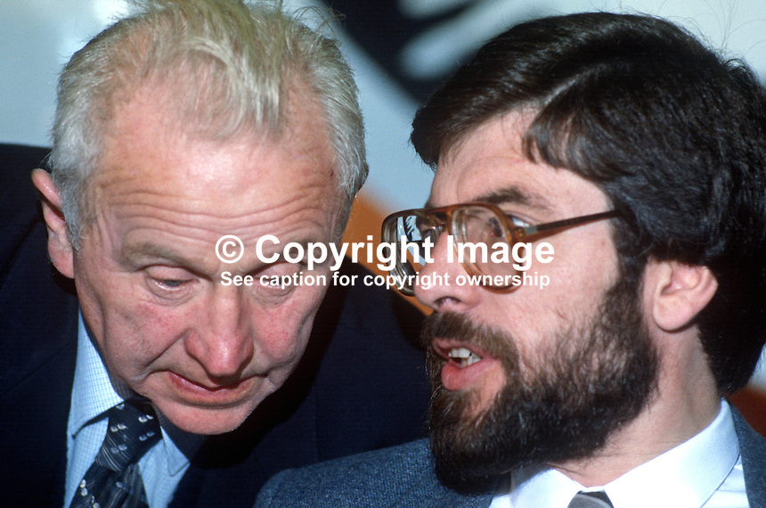 John Joe McGirl, veteran Irish republican activist, left, talking with Provisional Sinn Fein president, Gerry Adams, at the party's annual conference, Ard Fheis. 19840130JJMG2..Copyright Image from Victor Patterson, 54 Dorchester Park, Belfast, UK, BT9 6RJ..Tel: +44 28 9066 1296.Mob: +44 7802 353836.Voicemail +44 20 8816 7153.Skype: victorpattersonbelfast.Email: victorpatterson@me.com.Email: victorpatterson@ireland.com (back-up)..IMPORTANT: If you wish to use this image or any other of my images please go to www.victorpatterson.com and click on the Terms & Conditions. Then contact me by email or phone with the reference number(s) of the image(s) concerned.