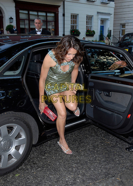 BEVERLEY TURNER.Arrivals at the 4th Annual Glamour Women Of The Year Awards, Berkely Square Gardens, London, England. .June 5th 2007.full length sitting car clutch purse silver shoe beverly cleavage green dress.CAP/FIN.©Steve Finn/Capital Pictures