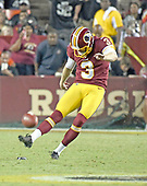 Washington Redskins kicker Dustin Hopkins (3) kicks-off to the Oakland Raiders in third quarter action at FedEx Field in Landover, Maryland on Sunday, September 24, 2017.  The Redskins won the game 27-10.<br /> Credit: Ron Sachs / CNP