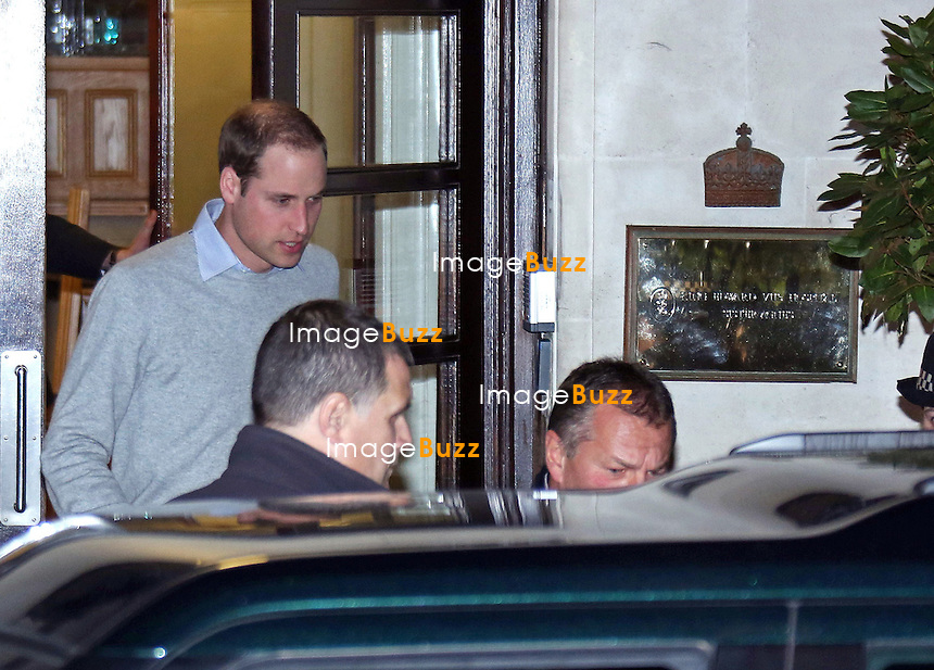 03.12.2012, London: PRINCE WILLIAM VISITS KATE .The Duchess of Cambridge was confirmed to be pregnant by Buckingham Palace earlier today..Prince William visited his wife at the King Edward Hospital where she has been admiited as  a precaution..