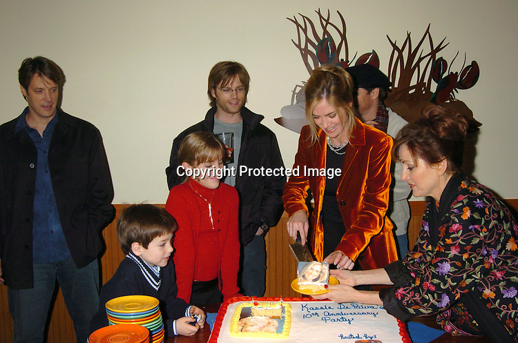 Cast with Cake..at the party for Kassie Depaiva's 10th anniversary for One Life to Live at the Red Lobster in Times Square on Dec 1, 2003 in New York, City