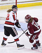 Maggie Brennolt (NU - 22), Jillian Dempsey (Harvard - 14) - The Harvard University Crimson defeated the Northeastern University Huskies 4-3 (SO) in the opening round of the Beanpot on Tuesday, February 8, 2011, at Conte Forum in Chestnut Hill, Massachusetts.