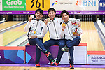 (L-R) Shogo Wada, Tomoyuki Sasaki, Ä Shusaku Asato (JPN), <br /> AUGUST 23, 2018 - Bowling : <br /> Men's Trios Medal Ceremony<br /> at Jakabaring Sport Center Bowling Center <br /> during the 2018 Jakarta Palembang Asian Games <br /> in Palembang, Indonesia. <br /> (Photo by Yohei Osada/AFLO SPORT)