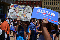 "Philadelphia, PA - July 26, 2016: Protestors display signs in support of presidential candidate Bernie Sanders at a ""Bernie or Bust"" rally across from City Hall during the Democratic National Convention in Philadelphia, PA, July 26, 2016  (Photo by Don Baxter/Media Images International)"