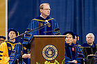May 20, 2017; Richard Notebaert, Chairman Emeritus of the Notre Dame Board of Trustees, gives the Commencement address at the 2017 Graduate School Commencement ceremony. (Photo by Matt Cashore/University of Notre Dame)
