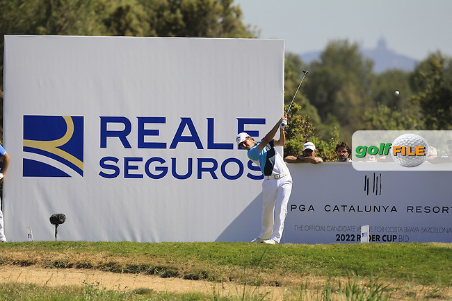 Emiliano Grillo (ARG) on the 17th tee during Round 4 of the Open de Espana  in Club de Golf el Prat, Barcelona on Sunday 17th May 2015.<br /> Picture:  Thos Caffrey / www.golffile.ie