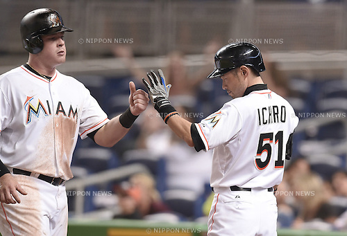 Ichiro Suzuki (Marlins),<br /> MAY 22, 2015 - MLB :<br /> Ichiro Suzuki of the Miami Marlins high fives his teammate during the Major League Baseball game against the Baltimore Orioles at Marlins Park in Miami, Florida, United States. (Photo by AFLO)