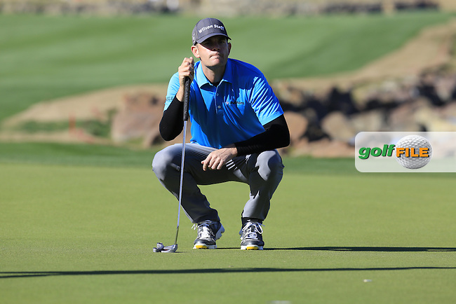 Brendan Steele (USA) on the 18th green during Saturday's Round 3 of the 2017 CareerBuilder Challenge held at PGA West, La Quinta, Palm Springs, California, USA.<br /> 21st January 2017.<br /> Picture: Eoin Clarke | Golffile<br /> <br /> <br /> All photos usage must carry mandatory copyright credit (&copy; Golffile | Eoin Clarke)