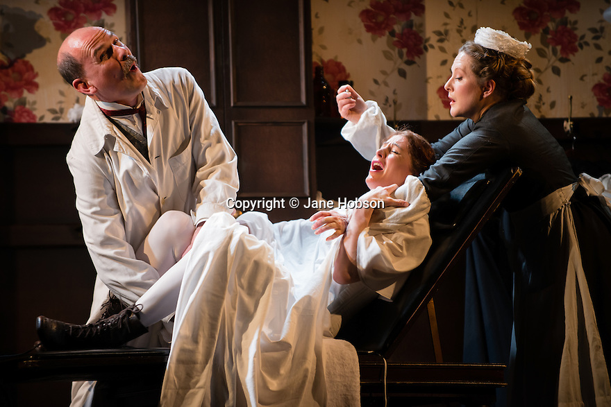 """In the Next Room' or ""The Vibrator Play"" has its UK premiere at the Ustinov Studio Theatre, Bath. Picture shows: Paul Hickey (Dr Givings), Flora Montgormery (Sabrina Daldry) and Lucy Robinson (Annie)."