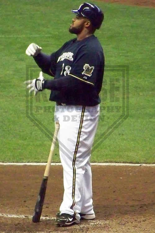 MILWAUKEE - APRIL 2010: Prince Fielder of the Milwaukee Brewers in action during a game on April 7, 2010 at Miller Park in Milwaukee, Wisconsin. (Photo by Brad Krause)