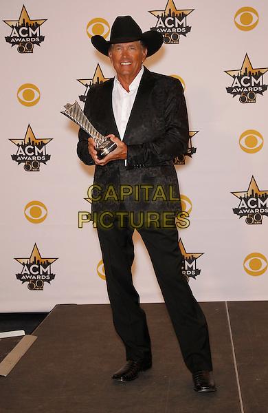19 April 2015 - Arlington, TX -   George Strait.  The 2015 ACM Awards at AT&amp;T Stadium- Press Room<br /> CAP/ADM/MJT<br /> &copy; MJT/AdMedia/Capital Pictures