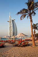 United Arab Emirates, Dubai: Evening beach view over to the Burj al Arab.