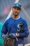 23 May 2017: Seattle Mariners outfielder Jarrod Dyson awaits his turn in the batting cage prior to facing the Washington Nationals at Nationals Park in Washington, DC. The Nationals defeated the Mariners 10-1 to take the first game of their inter-league series. Mandatory Credit: Ed Wolfstein Photo *** RAW (NEF) Image File Available ***