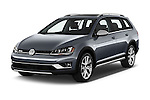 2017 Volkswagen Golf-Alltrack SEL 5 Door Wagon Angular Front stock photos of front three quarter view