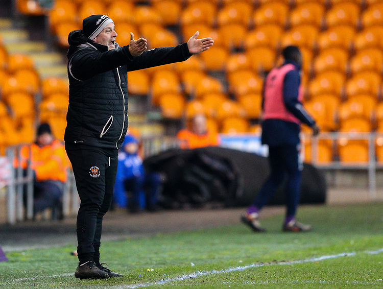 Blackpool's assistant manager Gary Brabin shouts instructions to his team from the technical area<br /> <br /> Photographer Alex Dodd/CameraSport<br /> <br /> The EFL Sky Bet League One - Blackpool v Shrewsbury Town - Saturday 19 January 2019 - Bloomfield Road - Blackpool<br /> <br /> World Copyright &copy; 2019 CameraSport. All rights reserved. 43 Linden Ave. Countesthorpe. Leicester. England. LE8 5PG - Tel: +44 (0) 116 277 4147 - admin@camerasport.com - www.camerasport.com
