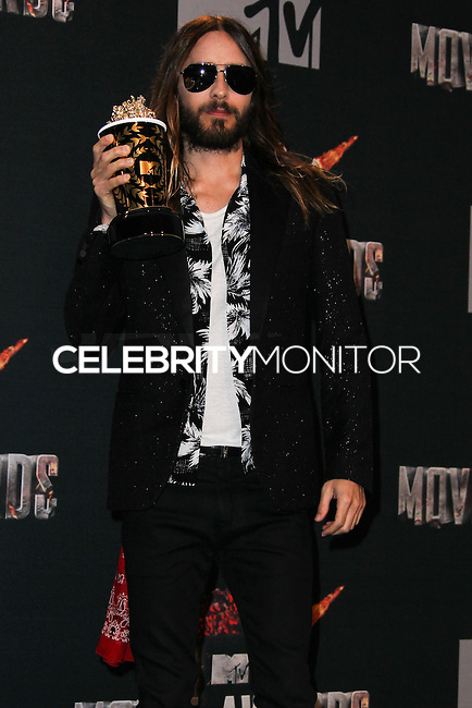 LOS ANGELES, CA, USA - APRIL 13: Jared Leto in the press room at the 2014 MTV Movie Awards held at Nokia Theatre L.A. Live on April 13, 2014 in Los Angeles, California, United States. (Photo by Xavier Collin/Celebrity Monitor)
