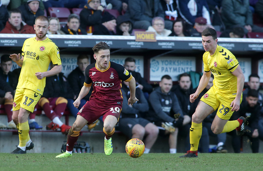 Fleetwood Town's Nathan Sheron chases down Bradford City's David Ball<br /> <br /> Photographer David Shipman/CameraSport<br /> <br /> The EFL Sky Bet League One - Bradford City v Fleetwood Town - Saturday 9th February 2019 - Valley Parade - Bradford<br /> <br /> World Copyright © 2019 CameraSport. All rights reserved. 43 Linden Ave. Countesthorpe. Leicester. England. LE8 5PG - Tel: +44 (0) 116 277 4147 - admin@camerasport.com - www.camerasport.com