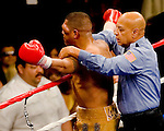FEBRUARY 24 2006 The left eye of Fernando Vargas swells upand the fight was called in the 10th round because of swelling in the left eye of Vargas as Mosley was given the 10th round TKO victory of the junior middleweight fight at the Mandalay Bay Events Center on February 25, 2006 in Las Vegas, Nevada.