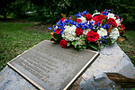 Duke Alumni who died in the September 11th attacks are honored in the memorial grove outside of Keohane residential quad.