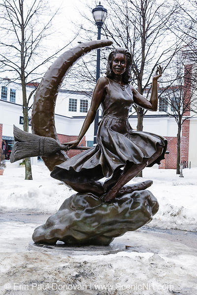Bewitched TV Land Statue in Salem, Massachusetts, USA during the winter months