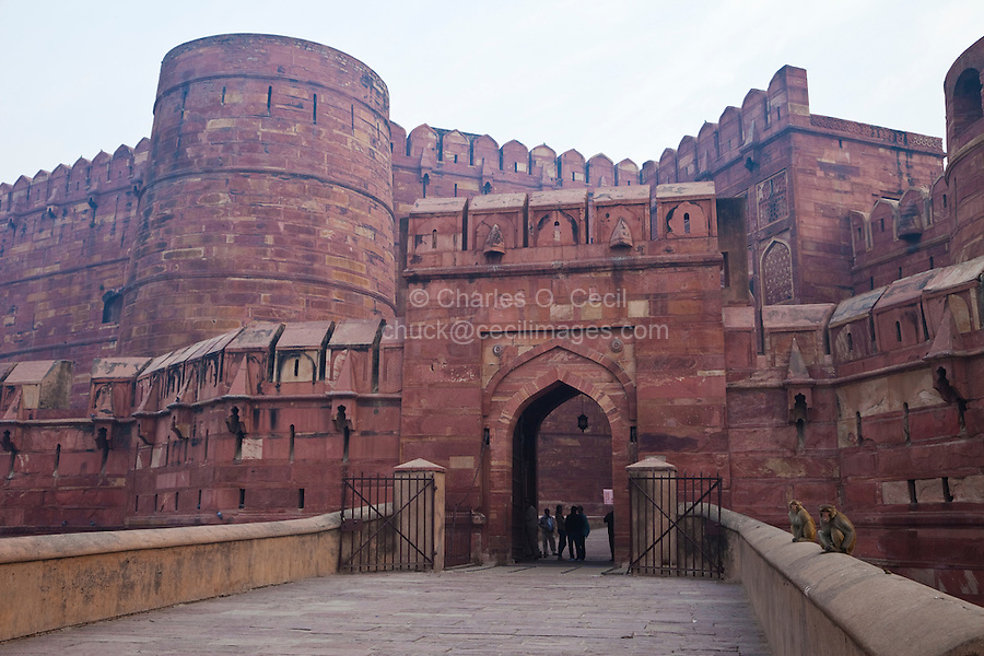 Agra, India.  Amar Singh Gate, Entrance to Agra Fort, 16th-century.