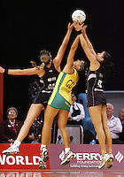 17.09.2008 Silver Ferns Irene Van Dyk Maria Tutaia and Australia's Mo'onia Gerrard in action during the New World Netball test match between the Silver Ferns and Australia played at Westpac Arena in Christchruch. Mandatory Photo Credit ©Michael Bradley.