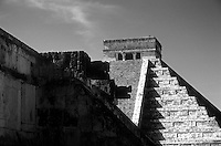 Venus Platform and El Castillo or Pyramid of Kukulcan framed by trees, Chichen Itza, Yucatan, Mexico