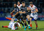 3rd February 2019, AJ Bell Stadium, Salford, England; Premiership Rugby Cup, Sale Sharks versus Newcastle Falcons; Jamie Blamire of Newcastle Falcons runs in for a try