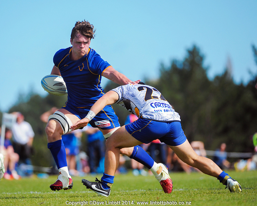 Alex Fitzgerald in action during the Under-19 provincial match between Otago and Bay of Plenty at Owen Delaney Park, Taupo, New Zealand on Wednesday, 1 October 2014. Photo: Dave Lintott / lintottphoto.co.nz