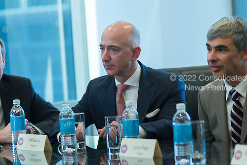 Amazon CEO Jeff Bezos is seen in attendance at a meeting of technology chiefs in the Trump Organization conference room at Trump Tower in New York, NY, USA on December 14, 2016. <br /> Credit: Albin Lohr-Jones / Pool via CNP