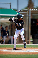 GCL Marlins Javeon Cody (27) at bat during a Gulf Coast League game against the GCL Astros on August 8, 2019 at the Roger Dean Chevrolet Stadium Complex in Jupiter, Florida.  GCL Marlins defeated GCL Astros 5-4.  (Mike Janes/Four Seam Images)
