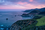 Sunrise over Hurricane Point at Big Sur with Bixby Bridge