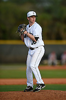 Dartmouth Big Green pitcher Chris Burkholder (16) during a game against the Ball State Cardinals on March 7, 2015 at North Charlotte Regional Park in Port Charlotte, Florida.  Ball State defeated Dartmouth 7-4.  (Mike Janes/Four Seam Images)