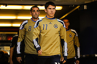 Shea Salinas (11) of the Philadelphia Union leads teammates onto the field for pre-game warm ups. The New York Red Bulls defeated the Philadelphia Union 2-1 during a Major League Soccer (MLS) match at Red Bull Arena in Harrison, NJ, on April 24, 2010.